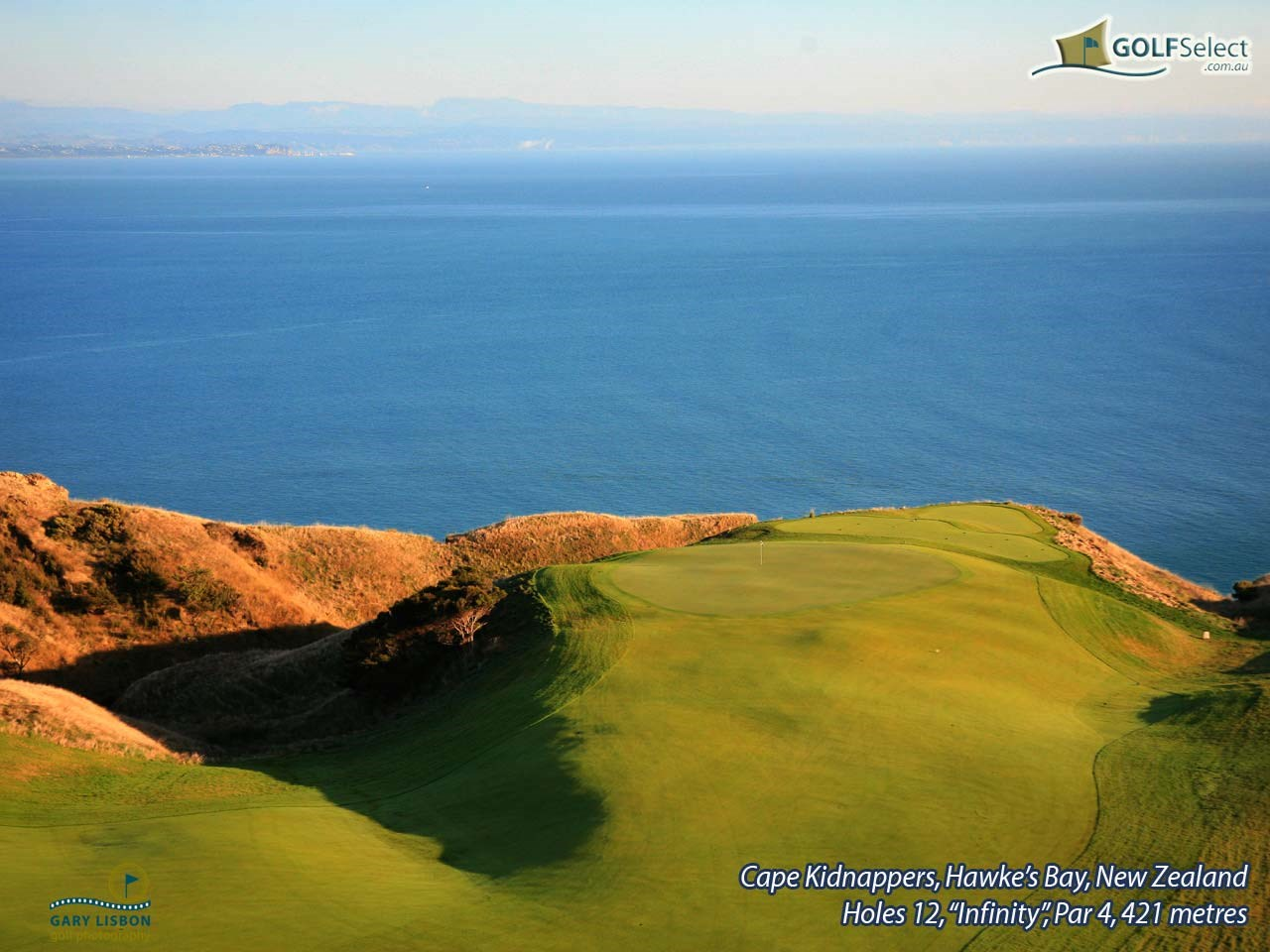 "Cape Kidnappers Golf Course Hole 12, ""Infinity"", Par 4, 421 metres"