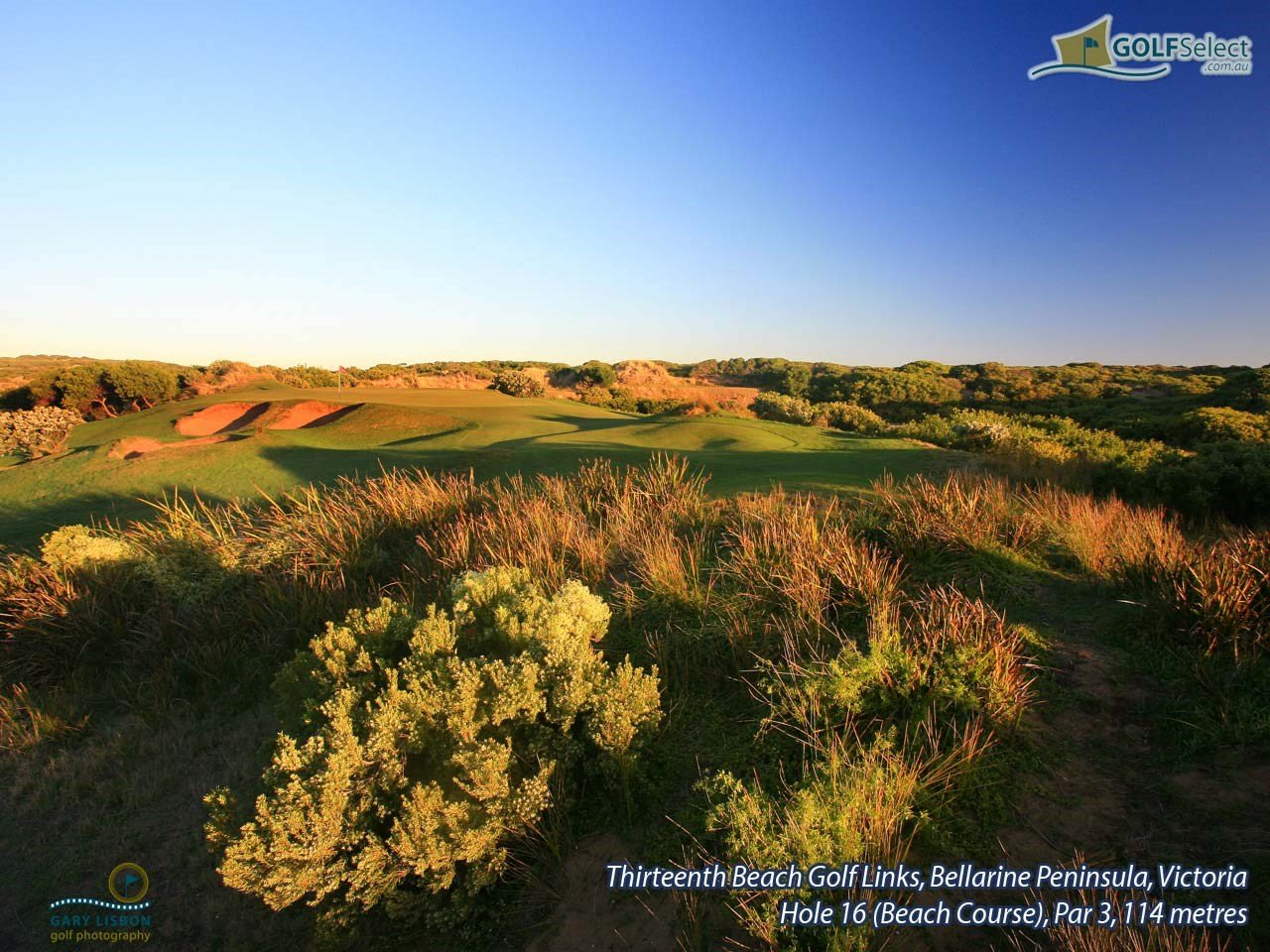Thirteenth Beach Golf Links (Beach Course) Hole 16, Par 3, 114 metres