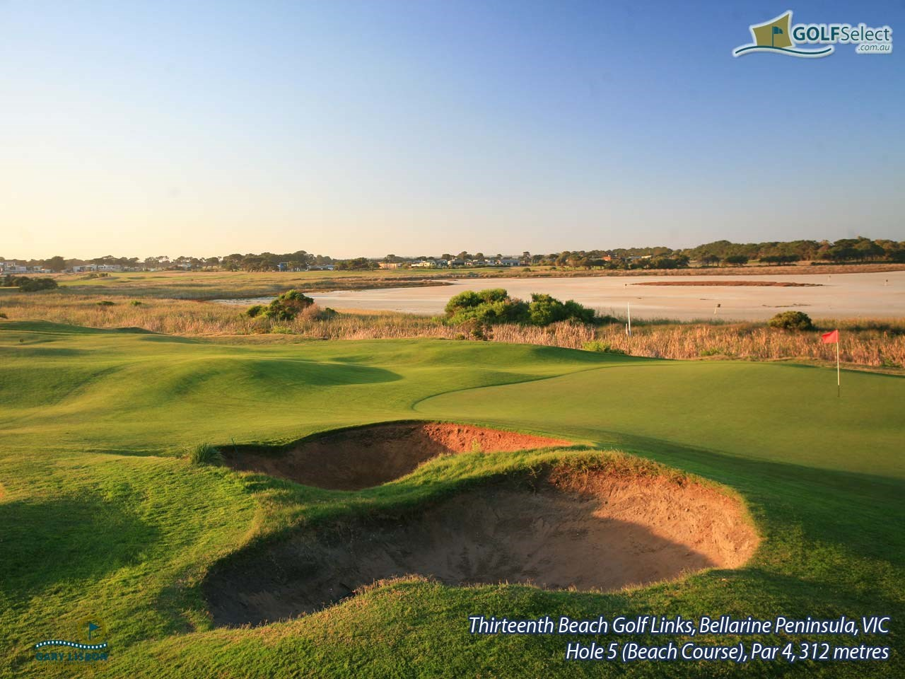 Thirteenth Beach Golf Links (Beach Course) Hole 5, Par 4, 321 metres