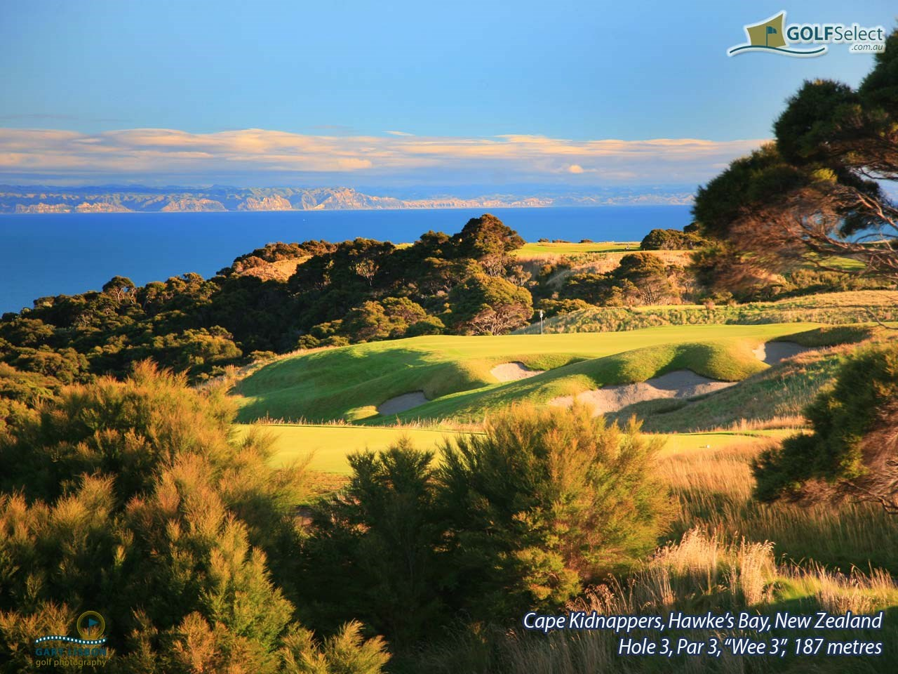 "Cape Kidnappers Golf Course Hole 3,""Par 3 ""Wee 3"", 187 metres"