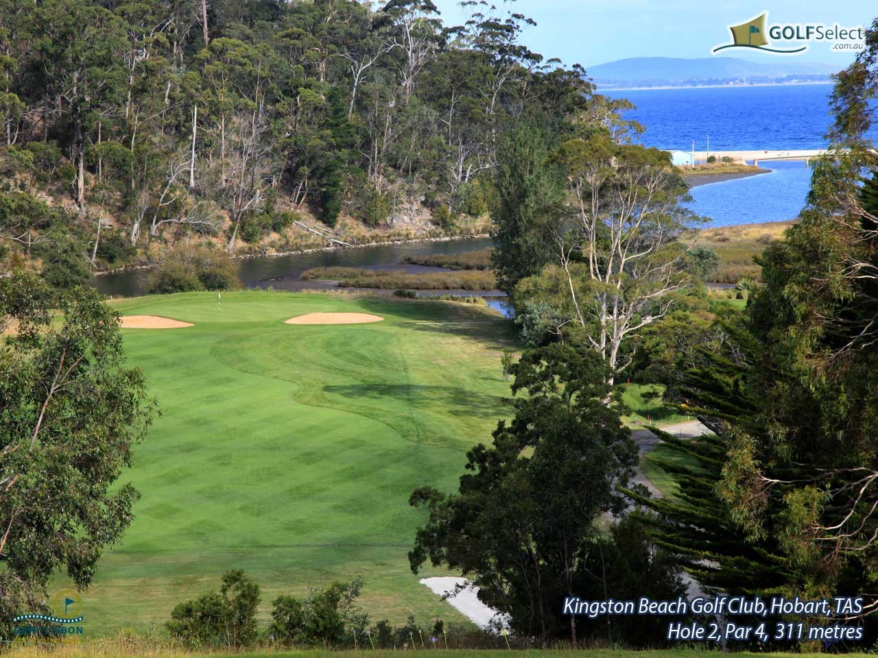 Kingston Beach Golf Club Hole 2, Par 4, 311 metres