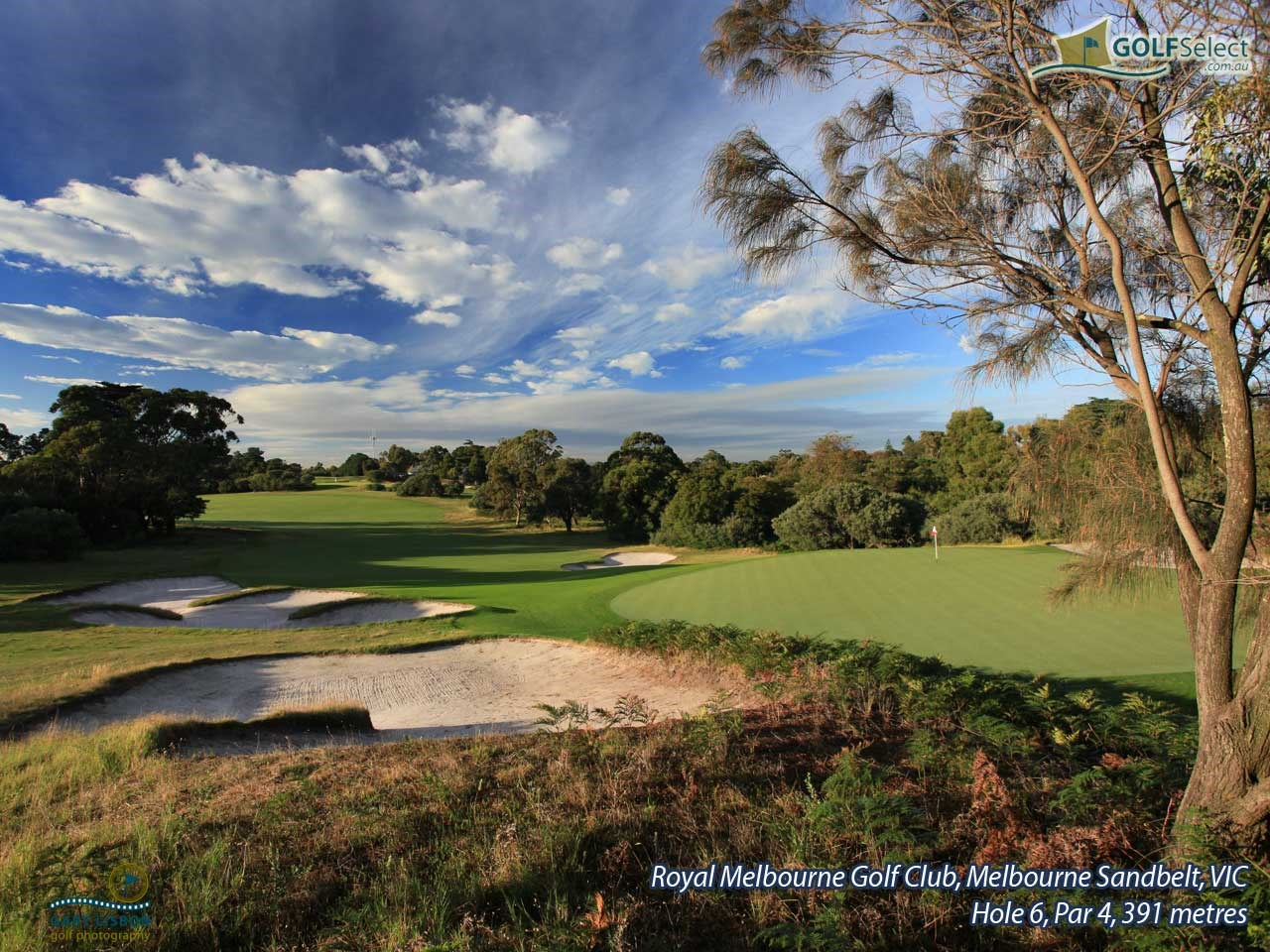 The Royal Melbourne Golf Club (West Course) Hole 6, Par 4, 391 metres