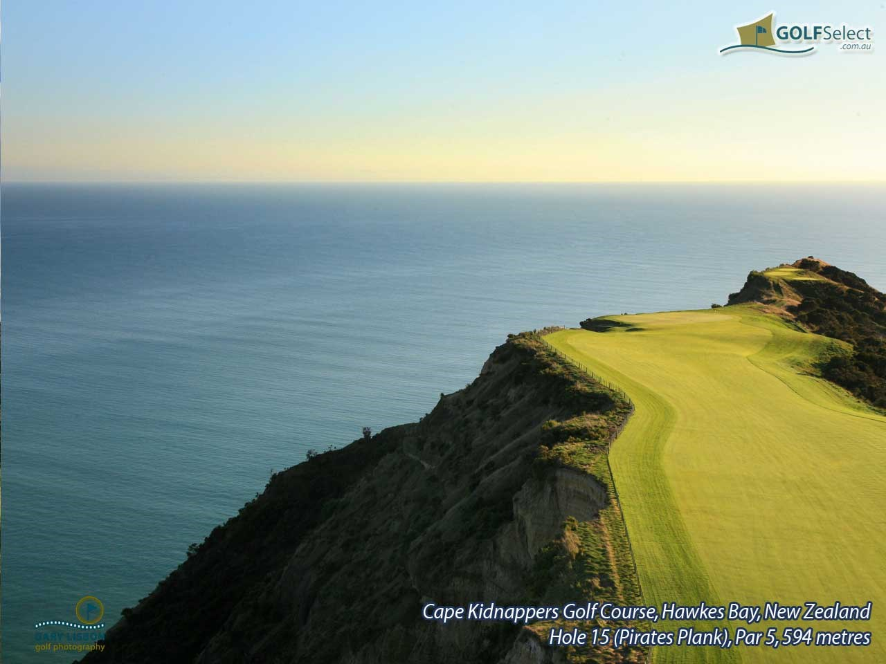 Cape Kidnappers Golf Course Hole 15 (Pirate Plank), Par 5, 594 metres