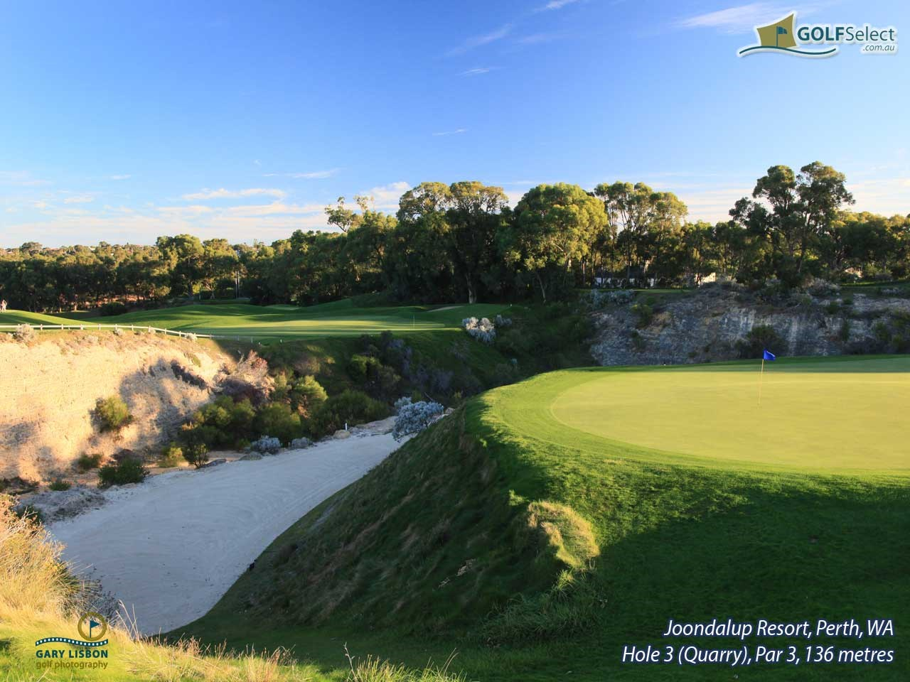 Joondalup Resort Hole 3 (Quarry), Par 3,136 metres