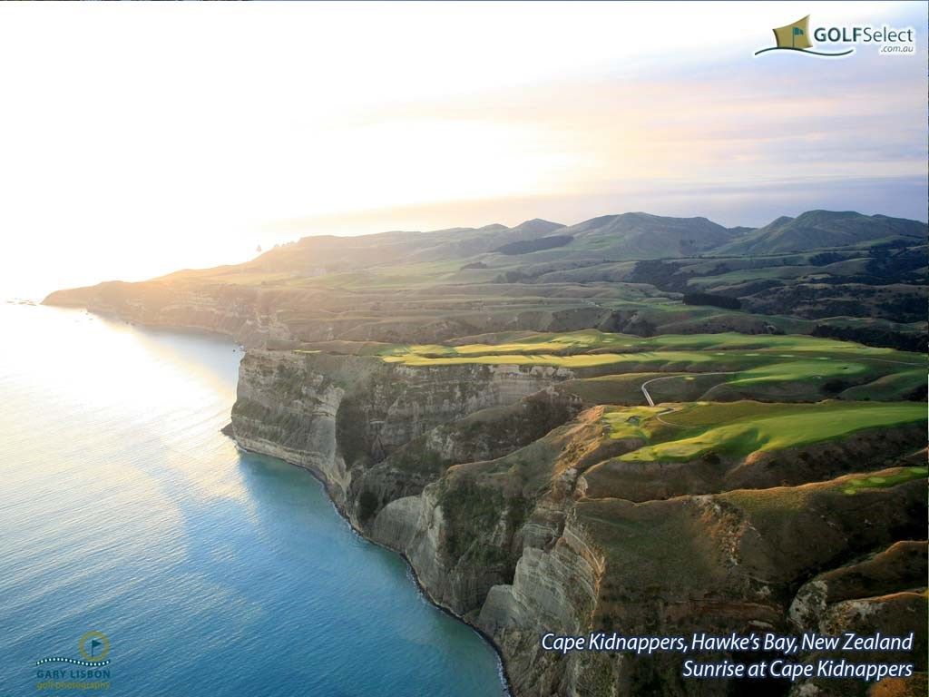 Golf Wallpaper – Cape Kidnappers Golf Course – Cape Kidnappers at Sunrise