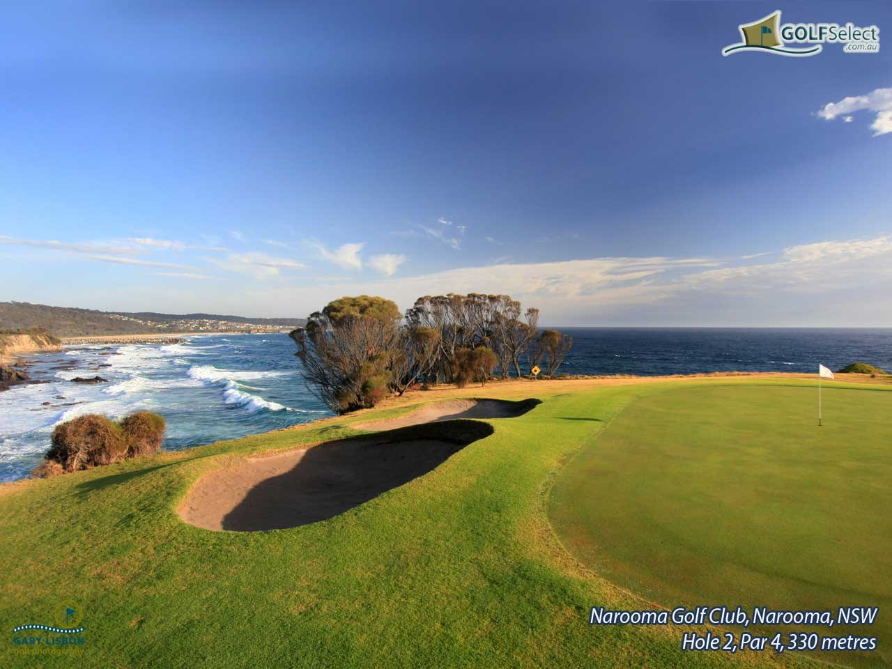 Narooma Golf Club Hole 2, Par 4, 330 metres