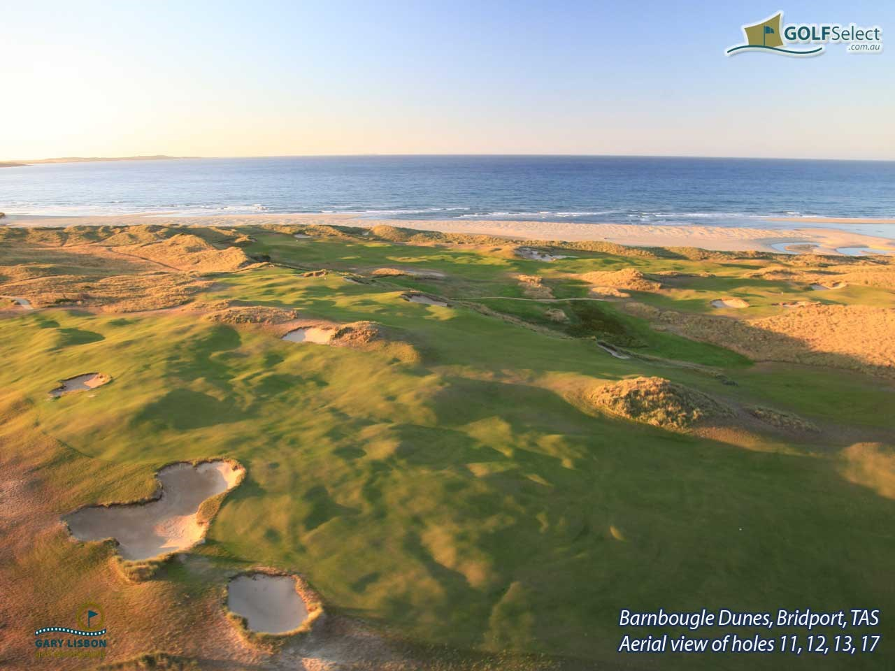 Barnbougle Dunes Golf Links Aerial image of holes 11, 12, 13 and 17