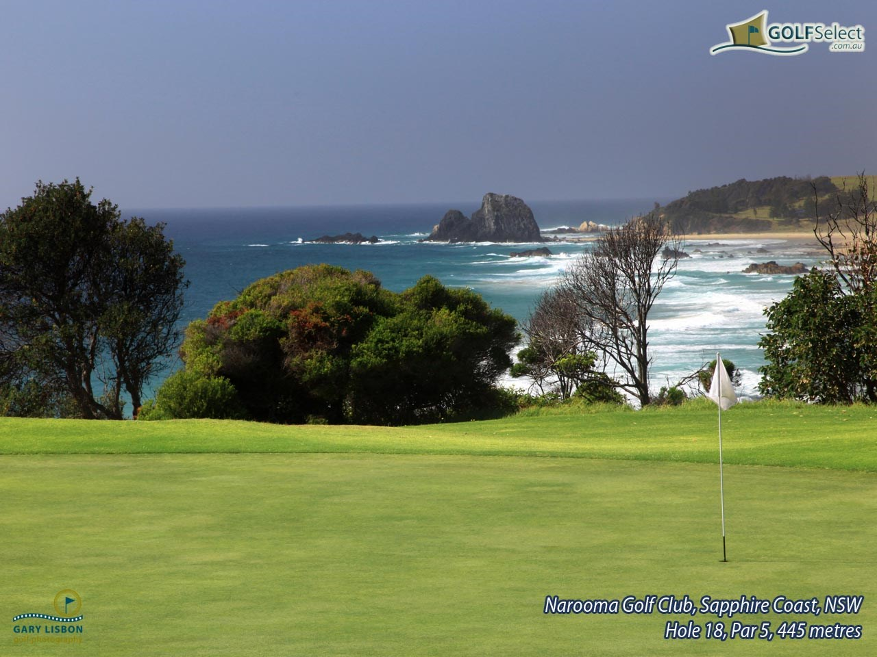 Narooma Golf Club Hole 18, Par 5, 445 metres