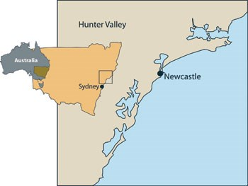 Hunter Valley, Port Stephens, Newcastle Location Map