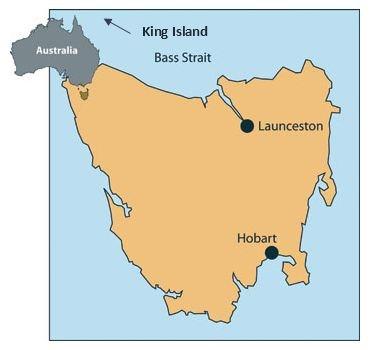 Tasmania & King Island Location Map